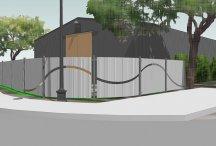 wizualizacja domu ogrodzonego panelami ogrodzeniowymi